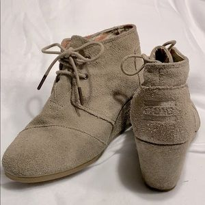 "Toms Tan Suede Wedges 3"" high."